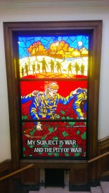 stained glass window in tribute to Wilfred Own, Birkenhead central library