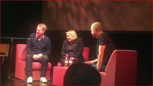 This snap of Edwyn Collins, Grace Maxwell and Dave Haslam at Dancehouse Theatre in Manchester would be outstanding were it not for the mysterious straying head