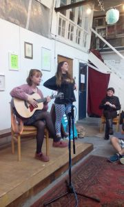 Esme Bridie - and Sofar Liverpool organiser Georgie Pruden