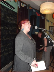 Me, doing my events compere thing. I'm smiling...so I can't be working, yet alone going at it, um, hard...can I?